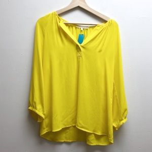 Violet & Claire yellow 3/4 length sleeve top